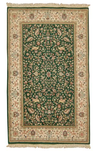 New Hand Knotted Caucasian Rug Woven with New Zealand Worsted Wool 5 X 8 Handmade Wool Area Rugs in Classic Traditions Tree of Life Design Green & Beige Color Will Match Any Furniture