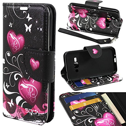 Galaxy Luna Case, Samsung Galaxy Express 3 Wallet Case, SOGA [Pocketbook Series] PU Leather Magnetic Flip Wallet Case for Samsung Galaxy Luna 4G LTE / Express 3 - Black Butterfly Heart (Galaxy 3 Phone Cases Wallet compare prices)