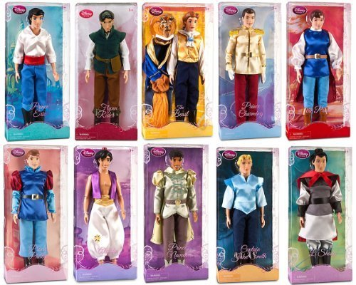 "Disney Store 10 Disney Princes 12"" Classic Doll Toy Collection Gift Set Including Prince Eric, Flynn Rider, The Beast, Prince Charming, The Prince, Prince Phillip, Prince Ali Ababwa (Aladdin), Prince Naveen, Captain John Smith and Li Shang Dolls by Disney Store"