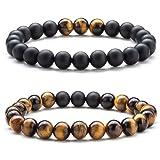 Hamoery Men Women 8mm Tiger Eye Stone Beads Bracelet Elastic Natural Stone Yoga Bracelet Bangle (Set1) (Color: 2 Pcs Set 1-21003)