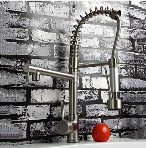 Review Rozinsanitary Brushed Nickel Pull Down Kitchen Sink Faucet Swivel Spout Brass Mixer Tap