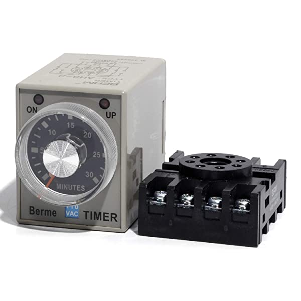 Time Delay Off Relay Switch 0-30 Minutes 30M Time Range AC 110V AH3-3 with Base (Tamaño: 30 m)