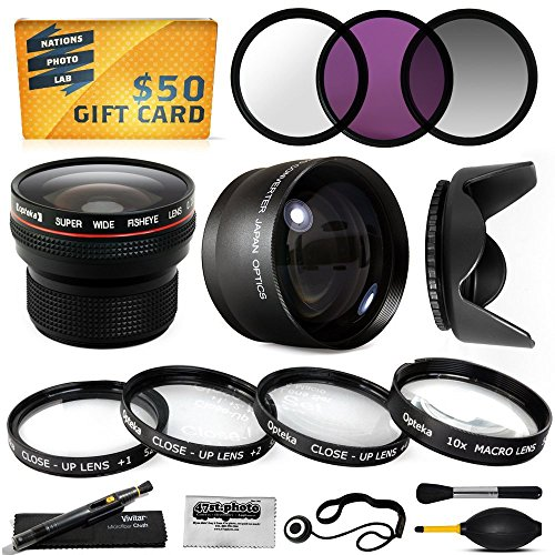 15 Piece Macro Fisheye Telephoto Lens Filters Set Includes 3 Piece Filter Kit (Uv + Cpl + Warming) + 4 Piece Close Up Kit (+1, +2, +4, 10X Macro) + .20X Professional Fish Eye Lens + 2.2X Hd Telephoto + Hood + More For 55Mm Sony A3500 A7 A7R A 7S A33 A35 A