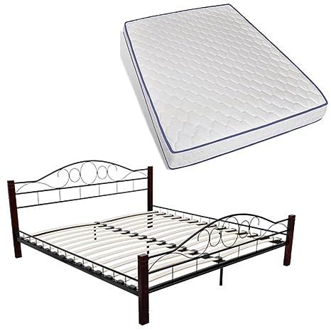 vidaXL 180x200 cm Bett Metallbett Bettgestell Schlafzimmerbett Doppelbett Matratze