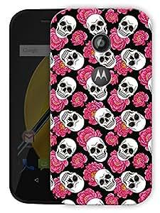 "Skulls And Roses - Pink Printed Designer Mobile Back Cover For ""Motorola Moto E2"" By Humor Gang (3D, Matte Finish, Premium Quality, Protective Snap On Slim Hard Phone Case, Multi Color)"