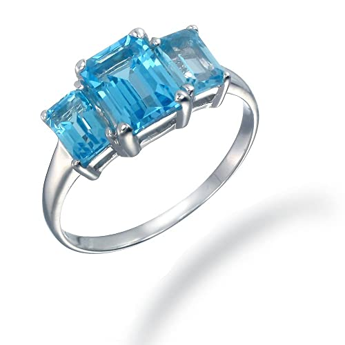 3CT 3 Stone Swiss Blue Topaz Ring In Sterling Silver