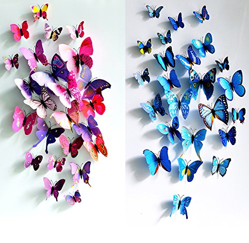 3D Butterfly 12PCS for Blue and 12 PCS For Purple Stickers Making Stickers Wall Stickers Crafts Butterflies