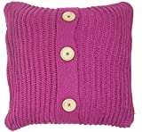 """2 X THURSO FUCHSIA CERISE PINK SUPERSOFT BUTTON KNITTED THICK 18"""" CUSHION COVER PILLOW CASE SHAM"""