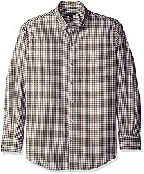 Van Heusen Men's Long Sleeve Check Premium Non Iron Shirt, Khaki Ermine, Medium