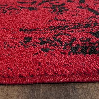 Safavieh Adirondack Collection ADR101F Red and Black Oriental Vintage Distressed Round Area Rug (4 Diameter)