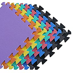 We Sell Mats - 1\'x1\' Blue 120 Squre Feet Foam Interlocking Anti-fatigue Kids Play Room Gym Soft Yoga Trade Show Basement Square Floor Tiles Borders Included - Several Colors to Choose From