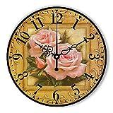 [Home2u] 北欧 風 壁掛け 時計 ローズ 薔薇 ウォール クロック 絵画調 アート インテリア