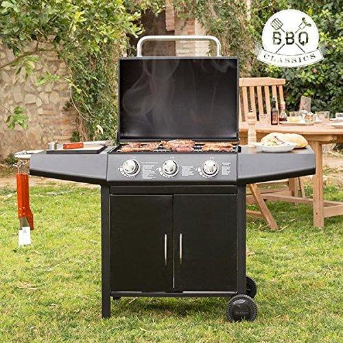 Barbecue a Gas con Grill Vaggan 1857K BBQ 3 Fornelli Terrazzo Giardino