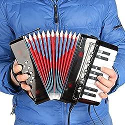 Andoer ミニ 小さいながらも本格的! 子供用  8ベース キッズ アコーディオン 17キー 知育玩具 音楽楽器 幼児楽器 教育 大人も楽しめます♪ リズムバンド 3色選択可能【並行輸入品】