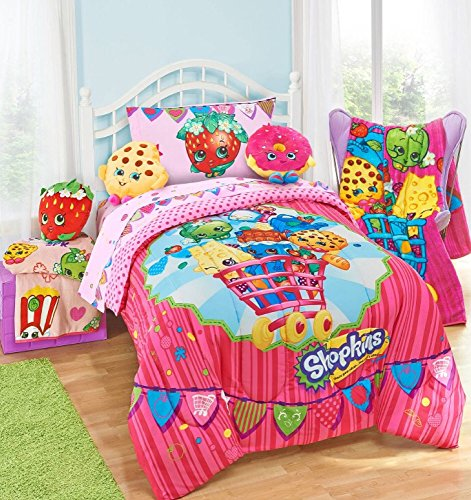 shopkins kids 5 piece bed in a bag full size bedding set reversible comforter microfiber. Black Bedroom Furniture Sets. Home Design Ideas