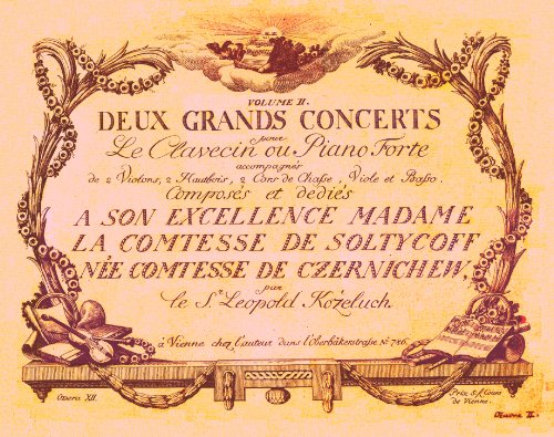 Piano Concert In B Flat By Leopold Kozeluch. (Keyboard) Volume Ii. Deux Grands Concerts Pour Le Clavecin Ou Piano Forte. In Color. [ Student Loose Leaf Facsimile Edition, 2012]