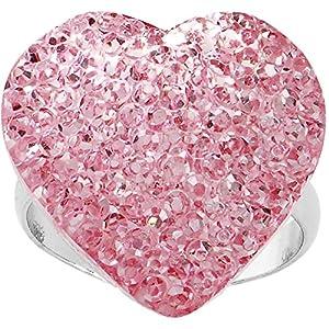 Light Pink Sparkler Heart Adjustable Ring