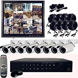 Q1C1 16 Channel H.264 DVR Internet 3G Phone access 8 x 480TV Lines Night Vision High Resolution Complete Security Camera system 750GB Hard Drive Installed (Monitor Not Included)