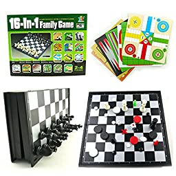 16 IN 1 FAMILY BOARD GAME PARTY KID CHILD TRAVEL SET TOY CHESS SNAKES & LADDERS