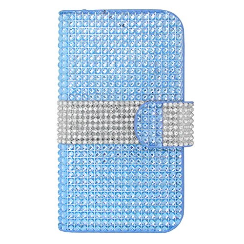 Hj Power[Tm] Htc Desire 610 Luxury Diamond Fds77C Leather Pu Wallet Pouch Case Cover + [Free Hj Power Stylus]Blue