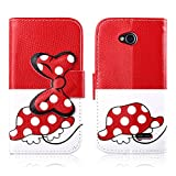 Fashion Youth Series Cute Design Tortoise Bow Bowknot Polka Dot Wallet Flip Case Folio PU Leather Stand Cover with Card Slots for LG L70 Optimus D320 + Free Lovely Gift