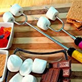 Marshmallow Roasting Sticks, Smores Skewers - SUMPRI Telescoping Forks SET OF 6 - Extra Long 34 Inch Large Forks, Hot Dog Campfire Accessories- The ONLY 6 Multicolored Set -Kids Camping Patio Cookware