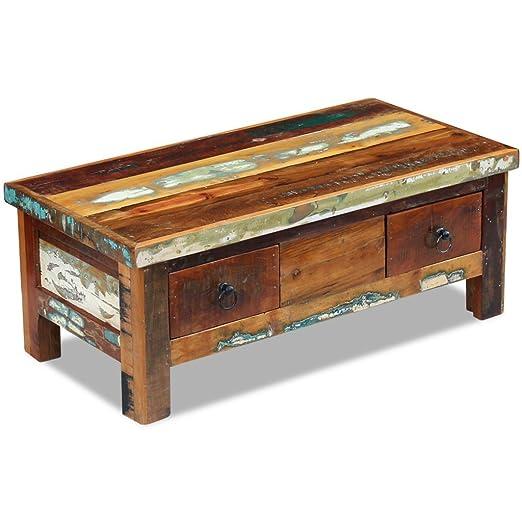 vidaXL–VidaXL mesa de café muebles Decor Home cajones madera maciza de reciclado 90x 45x 35cm