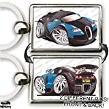 BUGATTI VEYRON BLUE Sports Car Koolart Quality Chrome Keyring Different Picture On Each Side!