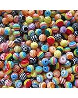 Lot de 100 perles en résine acrylique Multicolore 6 mm