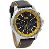 CAT Boston Men's Watch Black/Yellow Dial 44 MM Black Leather AD.143.34.137 (Color: Yellow)