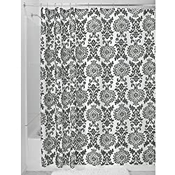 InterDesign Damask Shower Curtain, 72 x 72, Charcoal
