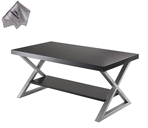 Korsa Coffee Table with Black Finish and With Chanasya Polish Cloth
