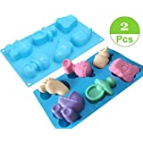 (Set of 2)Baby Shower Seris Silicone Soap Mold/Baby Carriages Bottle Little Feet Bear fondant Mold,Chocolate Mold for Sugarcraft,Cake Decoration,Candy Making,Cupcake Topper,Polymer Clay (Color: Blue)