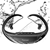 Tayogo Swimming Headphones, Waterproof MP3, IPX8 Certified Waterproof, 8GB Memory Can Store 2000 Songs, Silicone Technology, Can be Worn Behind the Head or Neck Suitable for Swimming, Surfing, Running (Color: Black)