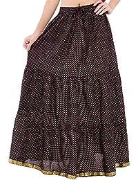 Decot Paradise Women's Cotton Regular Fit Skirt (Black) - B01DDLJV02