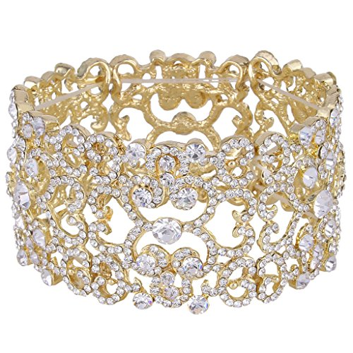 EVER-FAITH-Gold-Tone-Full-Austrian-Crystal-Bridal-Art-Deco-Elastic-Stretch-Bracelet-Clear