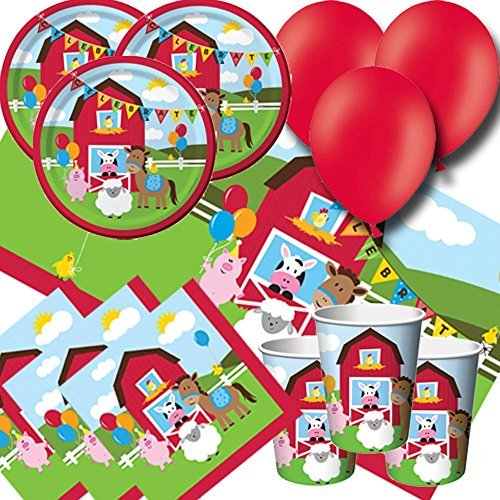 Farmhouse Fun Party Pack for 8 - Plates, Cups, Napkins, Balloons and Tablecover by Signature Balloons