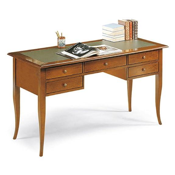 Scrivania con piano in ecopelle, stile classico, in legno massello e mdf con rifinitura in noce lucido - Mis. 130 x 65 x 81