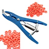 Castration Bander Animal Elastrator Castrate Pliers Dilation Forceps Tail Docking Pliers With Latex Castration Bands (Plier with 100rings)