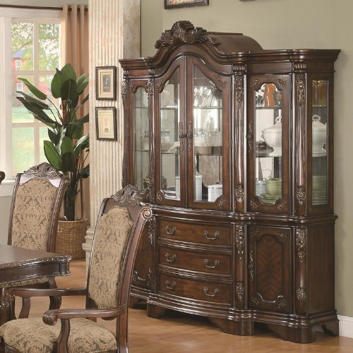Cheap China Cabinet Buffet Hutch with Carved Detail in Brown Cherry Finish (VF_AZ00-84674×38198)
