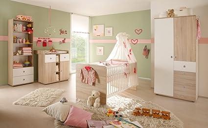 Babyzimmer WIKI 3 in Eiche Sonoma / Weiß - 4-tlg Babymöbel komplett Set mit Schrank, Babybett, Lattenrost und Wickelkommode mit Wickelaufsatz