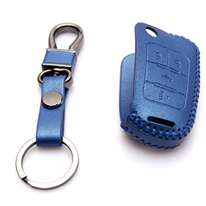 Genuine Leather Car Remote Key Holder Case Cover For Chevrolet Camaro Cruze Volt Equinox Malibu Sonic Spark Volt 4-Button
