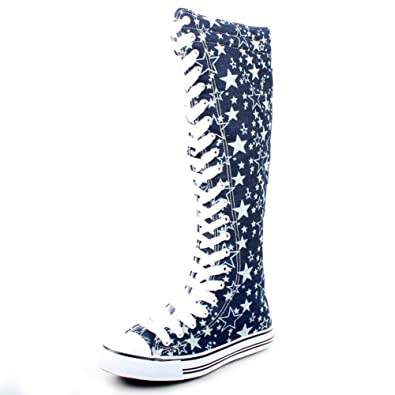 West Blvd Womens Sneaker Knee High Lace Up Boots - shoes with navy blue and white star pattern