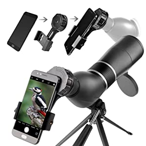 Spotting Scope,15-45X60 Waterproof Monocular Telescope Bird Watching Outdoor Viewing with Tripod and Digiscoping Adapter (Color: Gray)