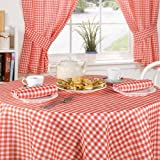 Emma Barclay Molly Gingham Check Tablecloth, Red, 63 Inch Round Diametre