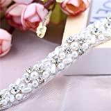 Slim Sew Iron on Rhinestone Pearls Dress Belt Applique Trims, LUCKY GODDNESS Handmade Sparkly Crystal Bridal Wedding Sash Applique for Women's Evening Prom Gown Clothes Trimming (Color: Silver-011S, Tamaño: 1 Yard)