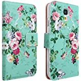 niceeshop(TM) Light Blue Flower Floral Style Wallet Flip Magnet Stand Leather Case Cover for Samsung Galaxy S4 i9500 With Screen Protector