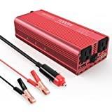 EBTOOLS Car Power Inverter, 1000W/2000W Inverter 12V DC to 110V AC Car Converter with 2 AC Outlets and 2.1A USB port for Laptop, Smartphone, Household Appliances in case Emergency, Storm and Outage (Color: Red, Tamaño: 1000W)