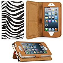 buy Black & White Zebra Print Design Vg Faux Leather Standalone Case For Apple Iphone 5 & Apple Ipod Touch 5 (Compatible With All Models)
