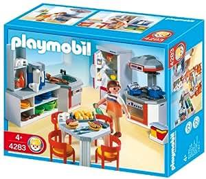 Playmobil kitchen with dinnette set toys games for Kitchen set toys amazon